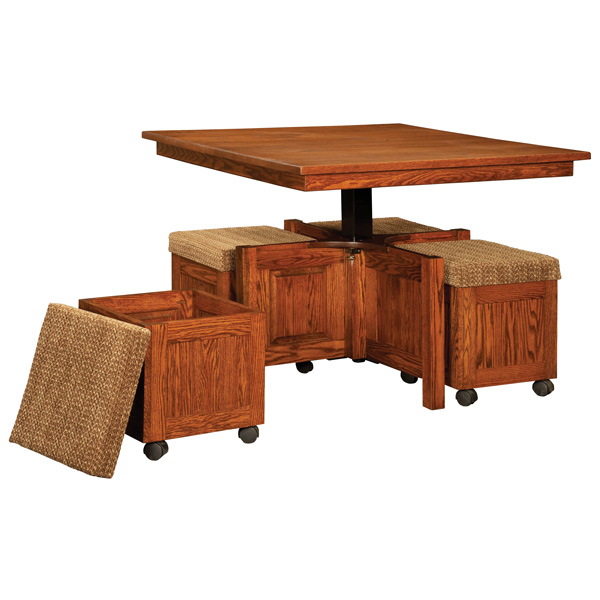 5 Pc Square Coffee Table And Bench Set